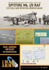 1ManArmy  1/32 Supermarine Spitfire Mk.I/Mk.II RAF 1941/42 high definition stencilling and national insignia paint masks 32DET013