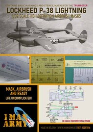 1ManArmy  1/32 Lockheed P-38L Lightning high definition stencilling and national insignia paint masks 32DET016