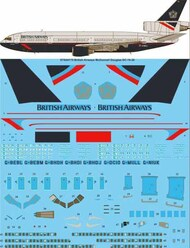 26 Decals  1/144 British Airways Landor McDonnell-Douglas DC-10-30 screen printed decal STS44179