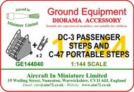 AIM - Ground Equipment  1/144 Douglas DC-3/C-47 Passenger Steps plus two sets of C-47 portable steps.The portable steps were normally carried in the aircraft. Suitable for use with any C-47-sized aircraft with a tail-wheel landing gear (for example Viking) and includes these kits: Rod GE144040