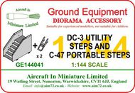 AIM - Ground Equipment  1/144 Douglas DC-3/C-47 Utility Steps plus two sets of C-47 portable steps.The portable steps were normally carried in the aircraft. Suitable for use with any C-47-sized aircraft with a tail-wheel landing gear (for example Viking) and includes these kits: Roden GE144041
