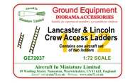 AIM - Ground Equipment  1/72 Avro Lancaster & Avro Lincoln Ladder Set. (designed to be used with Airfix, Hasegawa, Matchbox and Revell kits)[B.I B.I/III /B.X B.II]go to the Aircraft In Miniature web page.http://www.aim7 GE72037