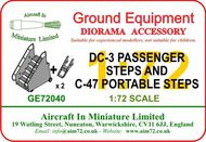 AIM - Ground Equipment  1/72 Douglas DC-3/C-47 Passenger Steps & C-47 portable steps. Suitable for use with any C-47-sized aircraft with a tail-wheel landing gear. (designed to be used with Italeri Douglas DC-3 and C-47 kits and the Airfix Dakota kits). For more infor GE72040