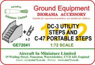 AIM - Ground Equipment  1/72 Douglas DC-3/C-47 Utility Steps plus two sets of C-47 portable steps.The portable steps were normally carried in the aircraft. Suitable for use with these kits: Italeri Douglas DC-3 and C-47 kits, also the Airfix Dakota kits. For more info GE72041