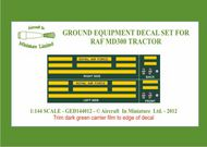 AIM - Ground Equipment Decals  1/144 Decals for the MD300 RAF tractor.  http://www.aim72.co.uk/page80.html GED144012
