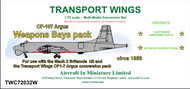 AIM - Transport Wings  1/72 Canadair CP-107 Argus weapons bays set - Pre-Order Item TWC72032W