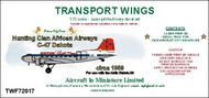 AIM - Transport Wings  1/72 Hunting Clan African Airways C-47 Dakota (circa 1959) decal set TWF72017