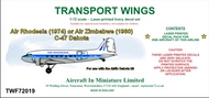 AIM - Transport Wings  1/72 Air Rhodesia (circa 1974) and Air Zimbabwe (circa 1980) C-47 decal set.go to the Aircraft In Miniature web page. Http://www.aim72.co.uk/page160.html TWF72019