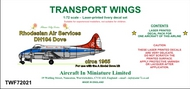 AIM - Transport Wings  1/72 Rhodesian Air Services DH104 Dove (circa 1965) decal set.go to the Aircraft In Miniature web page. http://www.aim72.co.uk/page216.html TWF72021