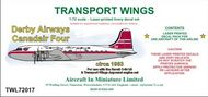 AIM - Transport Wings  1/72 Derby Airways Canadair C-4 Argonaut (circa 1960) decal set. For use with the Revell C-54 or DC-4 kit & Transport Wings TWC72021 - BOAC Canadair Argonaut engines (cross-over exhausts) conversion pack. TWL72017