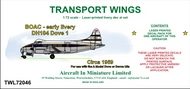 AIM - Transport Wings  1/72 BOAC - early livery DH104 Dove 1, circa 1959, decal set TWL72046