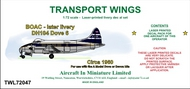 AIM - Transport Wings  1/72 BOAC - later livery DH104 Dove 6, circa 1960, decal set TWL72047