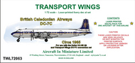 AIM - Transport Wings  1/72 British Caledonian Airways Douglas DC-7C (circa 1965) - Pre-Order Item TWL72063