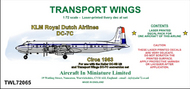 AIM - Transport Wings  1/72 KLM Royal Dutch Airlines Douglas DC-7C (circa 1963) - Pre-Order Item TWL72065