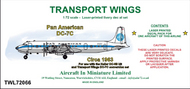 AIM - Transport Wings  1/72 Pan American Douglas DC-7C (circa 1963) - Pre-Order Item TWL72066