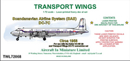 AIM - Transport Wings  1/72 Scandinavian Airline System (SAS) Douglas DC-7C (circa 1958) - Pre-Order Item TWL72068