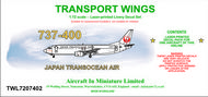AIM - Transport Wings  1/72 Boeing 737-400 decal set - Japan Transocean Air. http://www.aim72.co.uk/page104.html TWL7207402