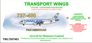 AIM - Transport Wings  1/72 Boeing 737-400 decal set - Pan Am. http://www.aim72.co.uk/page104.html TWL7207403