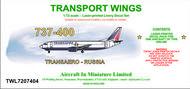 AIM - Transport Wings  1/72 Boeing 737-400 decal set v Transaero - Russia. http://www.aim72.co.uk/page104.html TWL7207404