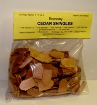 ALESSIO   Cedar Rounded Tab Dollhouse Wood Shingles (250pc) (D)<!-- _Disc_ --> ALE56