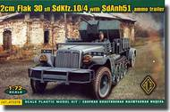 Ace Plastic Models  1/72 Sd.Kfz.10/4 Halftrack w/2cm Flak 30 Gun & Sd.Anh 51 Ammo Trailer AMO72278