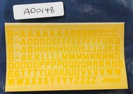 Civ Reg Letters 6mm Yellow #AED0148