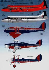Airdecal  1/72 Royal de Havillands (5) de Havilland DH.60 Gipsy Moth G-AALC 1929-33; de Havilland Fox Moth G-ACDD 1932-33; de Havilland DH.84 Dragon Rapide G-ADDD 1933-36. All the King's Flight in Red/Blue/Silver schemes; de Havilland Heron XM296 The Queen's Flight 1955 ADTS7204