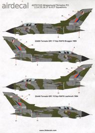 Airdecal  1/72 RAF Grey/Green wraparound Panavia Tornado GR.1 part 1See Xtradecal X48134 for these Tornados in 1:48 scale ADTS7225