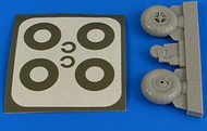 Aires  1/32 Bucker Bu.131 Wheels & Paint Masks Transverse Tread w/o Disc AHM2218