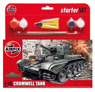 Airfix  1/76 Cromwell Cruiser tank Starter Set includes Acrylic paints, brushes and poly cement ARX55109