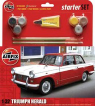 Airfix  1/32 Triumph Herald Starter Set includes Acrylic paints, brushes and poly cement The Triumph Herald, introduced in 1959, was looked upon as being quite a radical design. Its tilt forward bonnet and unusual styling, along with all-round independent suspension w ARX55201