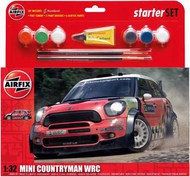 Airfix  1/32 Mini Countryman WRC Starter Set includes Acrylic paints, brushes and poly cement (5SHUS) ARX55304
