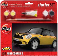 Airfix  1/32 BMW Mini Cooper S Starter Set includes Acrylic paints, brushes and poly cement ARX55310