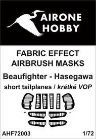Airone Hobby  1/72 Bristol Beaufighter, short-span tailplane fabric effect aileron and control surfaces airbrush masks AHF72003