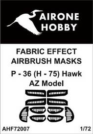 Airone Hobby  1/72 Curtiss P-36 (H-75) Hawk fabric effect aileron and control surfaces airbrush masks AHF72007