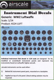Airscale Model Aircraft Enhancements  1/24 WWII Luftwaffe Instrument Dials (Decal) AIC2403
