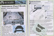 Airscale Model Aircraft Enhancements  1/24 Focke Wulf Fw.190A Instrument Panel (Decal) AIC2405