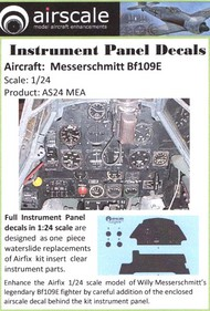 Airscale Model Aircraft Enhancements  1/24 Messerschmitt Bf.109E Instrument Panel (Decal) AIC2406