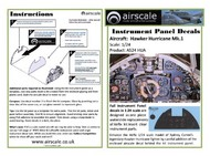Airscale Model Aircraft Enhancements  1/24 Hawker Hurricane Mk I Instrument Panel (Decal) AIC2410