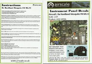 Airscale Model Aircraft Enhancements  1/24 DeHavilland Mosquito FB Mk VI Instrument Panel (Decal) AIC2411