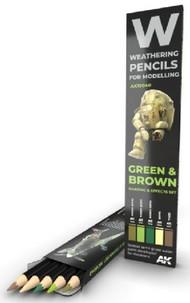 AK Interactive  AKI Weathering Pencils Weathering Pencils: Green & Brown Shading & Effects Set (5 Colors) AKI10040