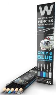 Weathering Pencils: Grey & Blue Shading & Effects Set (5 Colors) #AKI10043