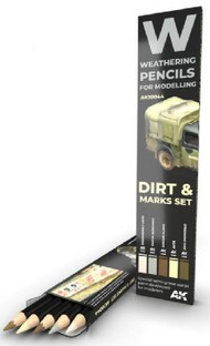 Weathering Pencils: Dirt Marks Set (5 Colors) - Pre-Order Item #AKI10044