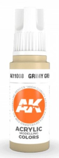 AK Interactive  AK Acrylics Grimy Grey Acrylic Paint 17ml Bottle AKI11008