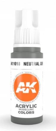 AK Interactive  AK Acrylics Neutral Grey Acrylic Paint 17ml Bottle AKI11018