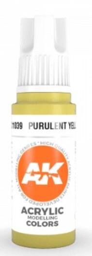 AK Interactive  AK Acrylics Purulent Yellow Acrylic Paint 17ml Bottle AKI11039