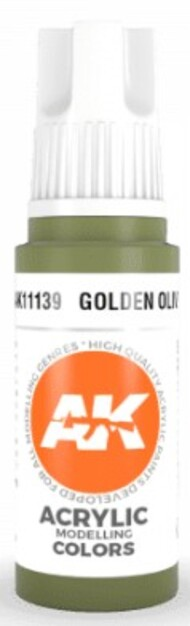 AK Interactive  AK Acrylics Golden Olive Acrylic Paint 17ml Bottle AKI11139