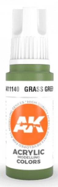 AK Interactive  AK Acrylics Grass Green Acrylic Paint 17ml Bottle AKI11140