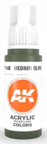 AK Interactive  AK Acrylics Medium Olive Green Acrylic Paint 17ml Bottle AKI11148