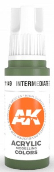 AK Interactive  AK Acrylics Intermediate Green Acrylic Paint 17ml Bottle AKI11149